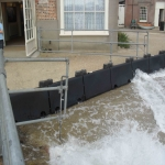 Temp Flood Barrier in Abbey Yard 7